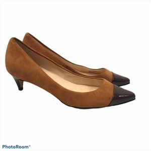 Cole Haan Suede and Patent Leather Kitten Heels